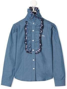 Harmont & Blaine Junior ruffled trim long sleeve shirt - Blue
