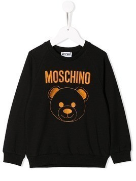 Moschino Kids embroidered logo bear sweatshirt - Black