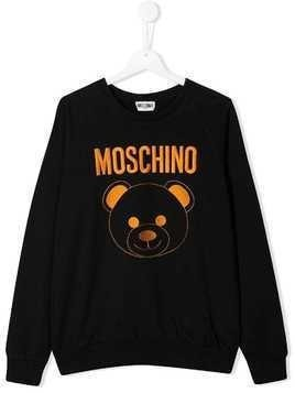 Moschino Kids TEEN embroidered bear sweatshirt - Black