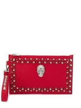 Philipp Plein studded skull clutch - Red