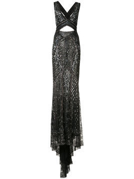 Roberto Cavalli cut-out embroidered gown - Black