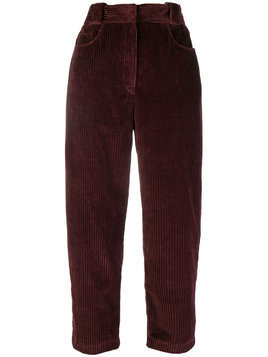 Cédric Charlier cropped corduroy trousers - Red