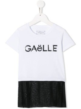 Gaelle Paris Kids mesh panel T-shirt - White