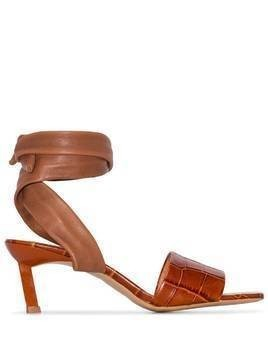 GANNI wrap ankle 45mm sandals - Brown