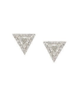 Lizzie Mandler Fine Jewelry 'Trillion' diamond pave stud earrings - Metallic