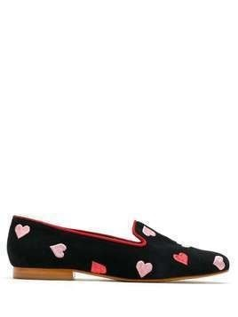 Blue Bird Shoes Hearts suede loafers - Black
