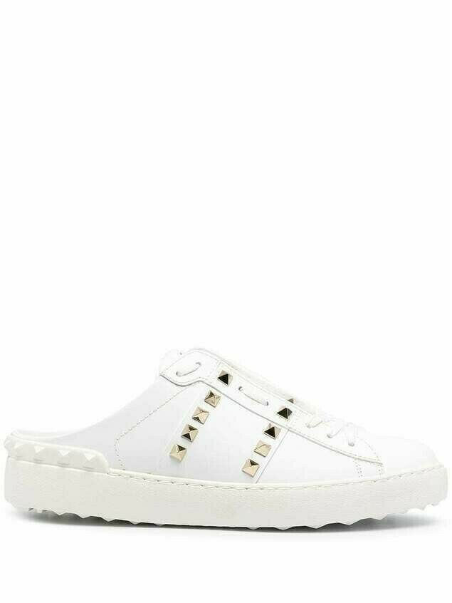 Valentino Garavani Rockstud slip-on leather sneakers - White