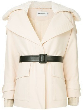 Self-Portrait belted short coat - White