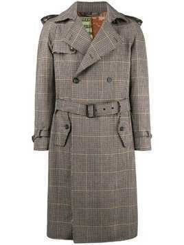 Etro checked trench coat - Brown