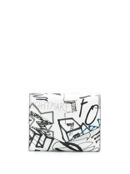 Maison Margiela graffiti-print wallet - White