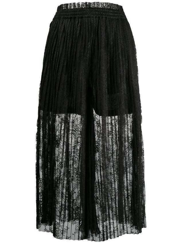 Mm6 Maison Margiela pleated lace maxi skirt - Black