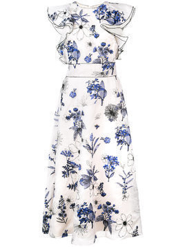 Lela Rose floral print ruffle dress - White