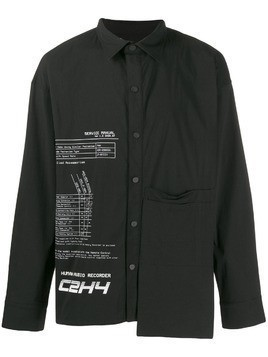 C2h4 printed asymmetric shirt - Black