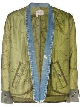 Greg Lauren denim trim distressed jacket - Green