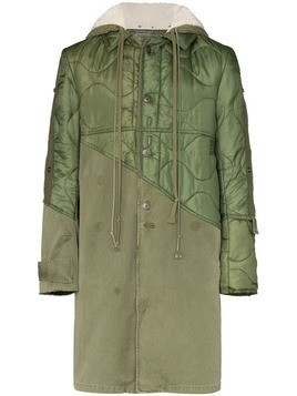 Greg Lauren hooded army trench coat - Green
