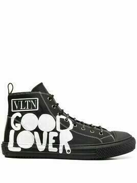 Valentino printed high-top sneakers - Black