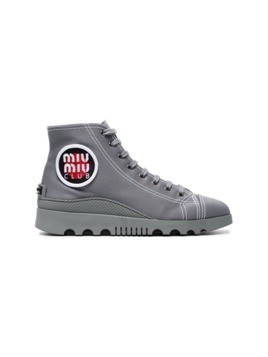 Miu Miu Grey Gabardine High Top Sneakers