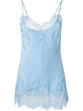 Gold Hawk lace panelled vest - Blue
