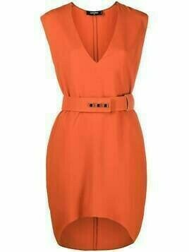 Dsquared2 V-neck belted dress - ORANGE
