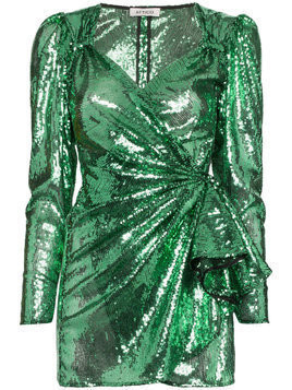 Attico sweetheart sequin draped mini dress - Green