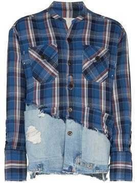 Greg Lauren check denim hybrid shirt - Blue