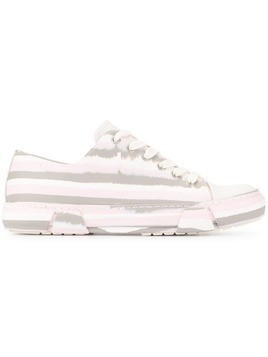 Both striped lace-up sneakers - White