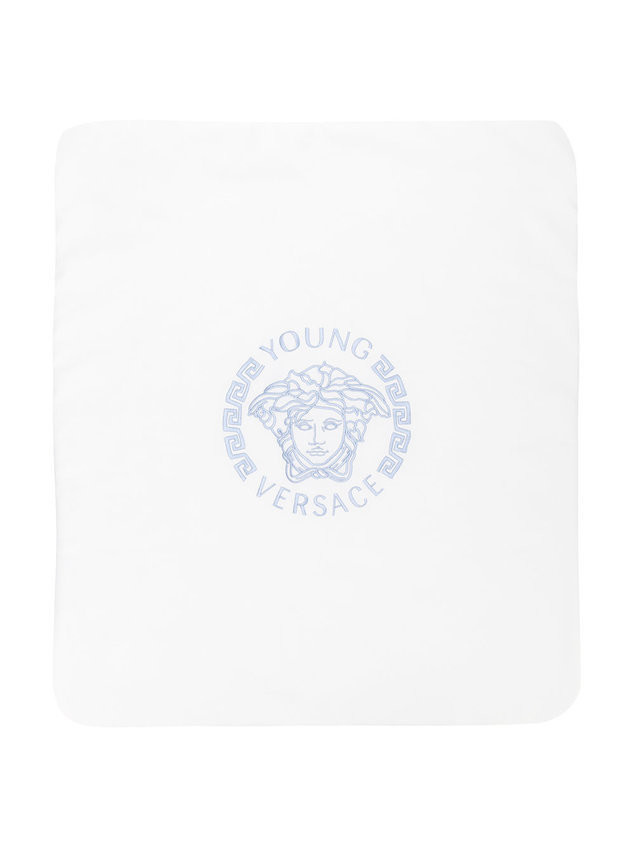 Young Versace Medusa embroidered blanket - White