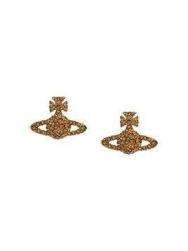 Vivienne Westwood rhinestone-embellished logo earrings - GOLD
