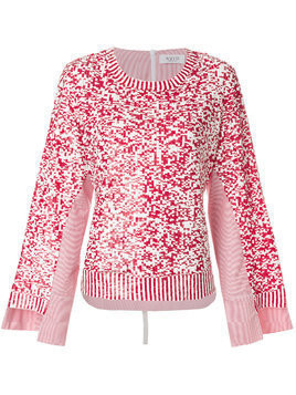 Aviù sequinned tulle and poplin pullover - Red