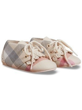 Burberry Kids Fringe Detail Check Cotton and Leather Shoes - Nude & Neutrals