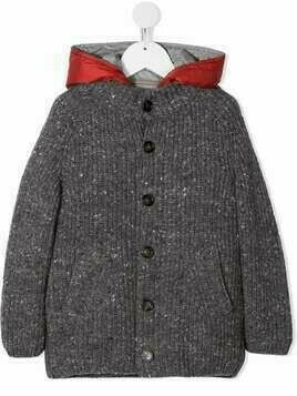 Brunello Cucinelli Kids button-up hooded coat - Grey