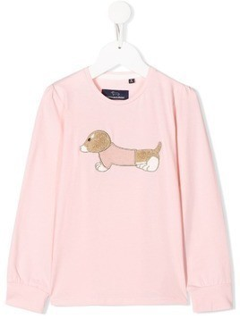 Harmont & Blaine Junior embroidered logo long sleeve top - PINK