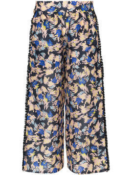 A Peace Treaty Yuna print silk linen-blend cropped trousers - Multicolour