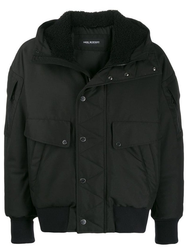Neil Barrett hooded bomber jacket - Black
