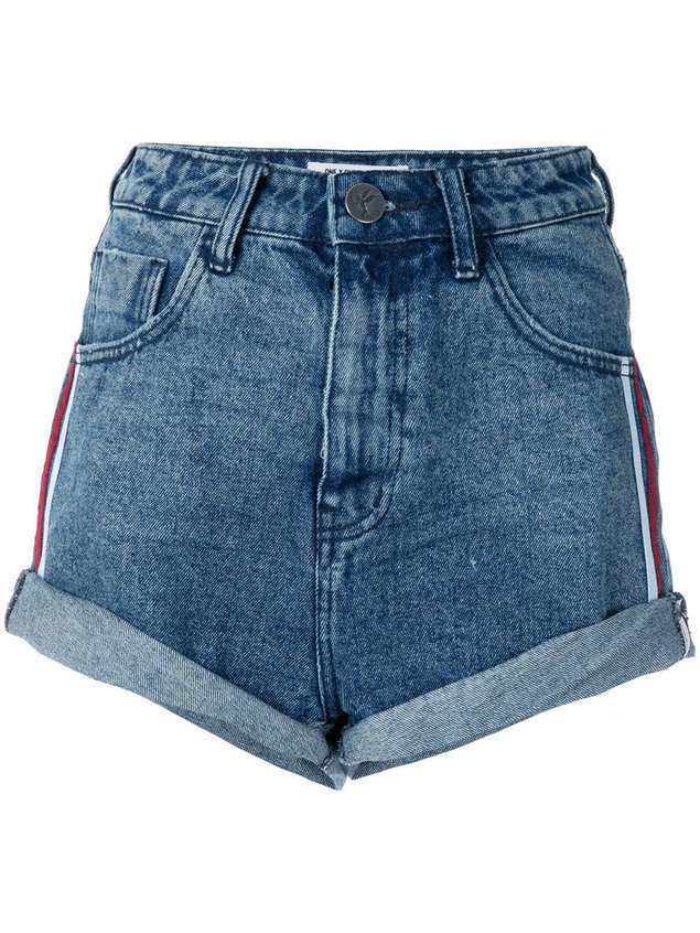 One Teaspoon stripe detail high waisted shorts - Blue