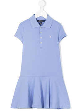 Ralph Lauren Kids - logo peplum polo dress - Kinder - Cotton/Spandex/Elastane - 10 yrs - Blue