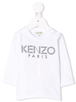 Kenzo Kids logo print long-sleeved T-shirt - White