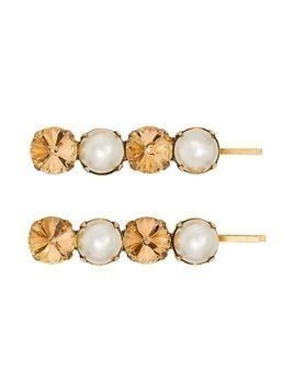 Jennifer Behr crystal and faux pearl Gallina set of two hairclips - GOLD