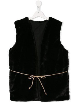 Little Creative Factory Kids TEEN faux fur tie gilet - Black