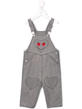 Stella Mccartney Kids ladybird heart embroidered dungarees - Grey