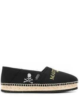 Mastermind Japan logo embroidered espadrilles - Black