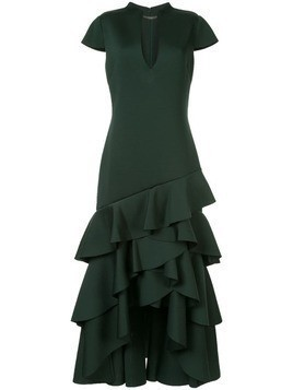 Badgley Mischka ruffled hem long dress - Green