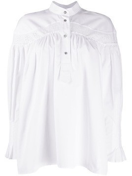 Cédric Charlier gathered long sleeve blouse - White