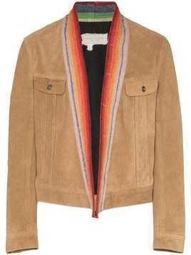 Greg Lauren suede bomber jacket - Brown
