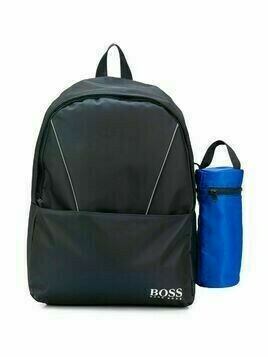 Boss Kids logo-print contrast piping backpack - Blue
