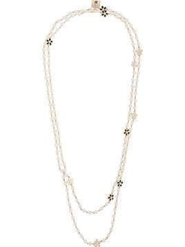 Edward Achour Paris flower charm necklace - White