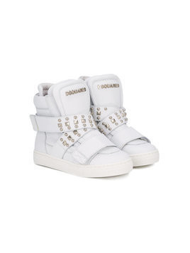 Dsquared2 Kids - studded hi-top sneakers - Kinder - Leather/rubber - 34 - White