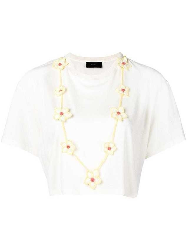 Alanui floral necklace T-shirt - White