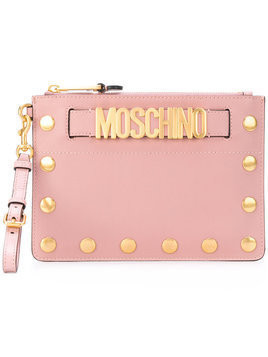 Moschino - studded logo clutch - Damen - Leather - One Size - Pink & Purple