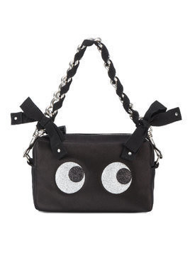 Anya Hindmarch Black Silk Glitter Eyes Clutch Bag